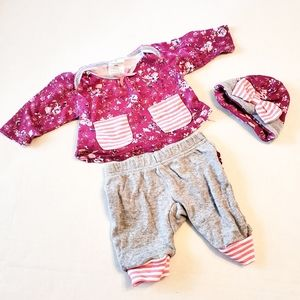 Laura Ashley Baby Purple Floral Outfit 0-3 Months